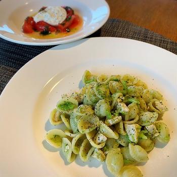 ブラッターチーズのカプレーゼ風、カジキのプーリア風オレキエッテ、銀座イタリア料理・家庭料理教室