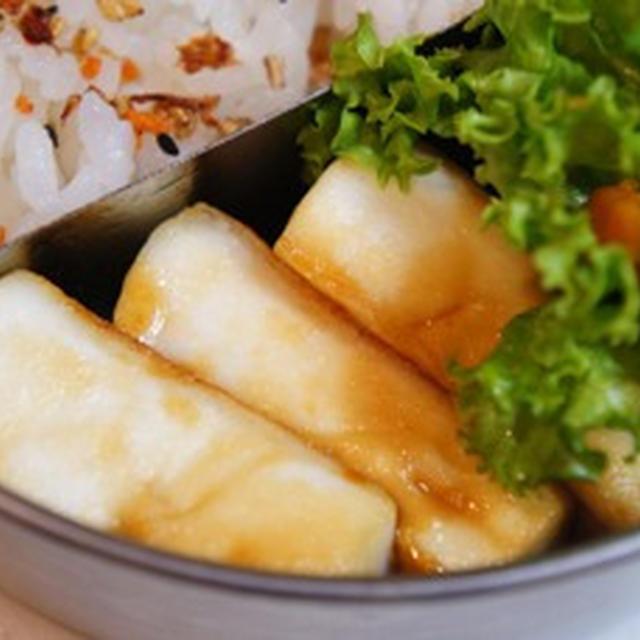 世紀末弁当救世主伝説、ふわふわはんぺん蒲焼と、ほっくりカボチャバターソテーの愛妻弁当