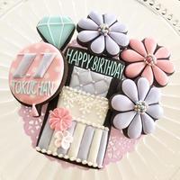 HAPPY BIRTHDAY! 3段ケーキのアイシングクッキー