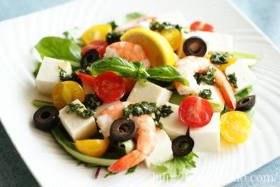 豆腐と海老のバジルサラダ