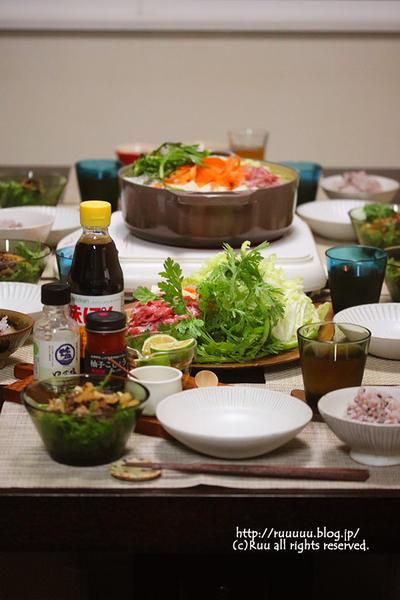 【レシピ】春菊のサラダ れんこんと牛肉のおかずドレッシングで。~水炊きの思い出~