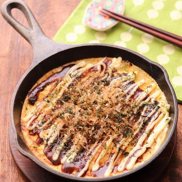 【お餅活用レシピ】ふわとろ♡お好み焼き風とろろ焼き