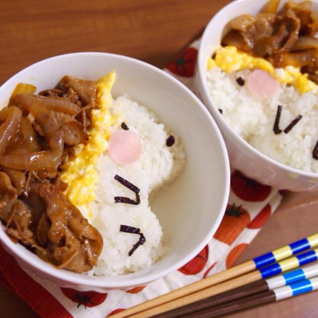 簡単朝ごはん!即席時短簡単♪ハヤシオムライスで「ハリネズミ丼」