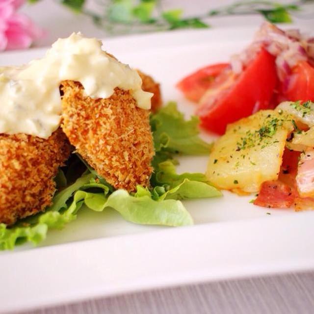 揚げずにサクサク!鮭フライのタルタル&和風ジャーマンポテト&トマトのナムル