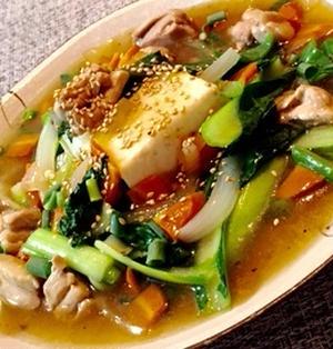 木綿豆腐の鶏肉と小松菜の和風あんかけ