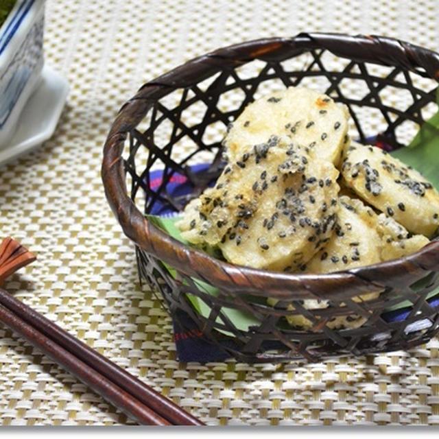 鶏せいろと里芋の黒ごま天ぷらとビックリ筋子おにぎり☆