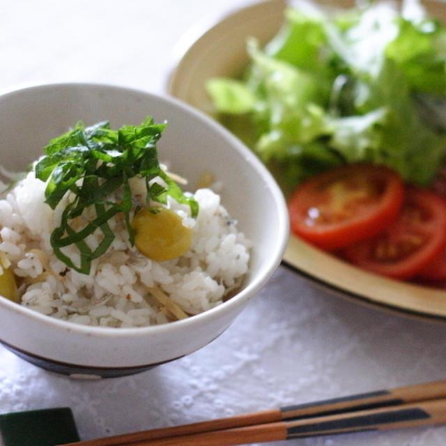 ちりめんじゃこの炊き込みご飯を 宮崎こしひかりの新米で。