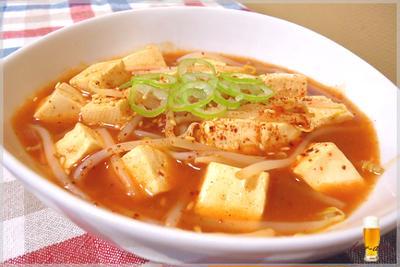 塩豆腐ともやしのチリソース煮