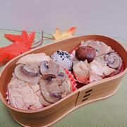 マシュルームと秋生鮭の炊き込みごはんでおにぎり〖おにぎりだけ弁当〗