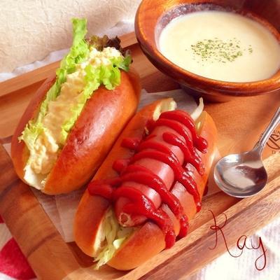 ふんわりコッペパン♡ホットドッグ&卵サンド♡