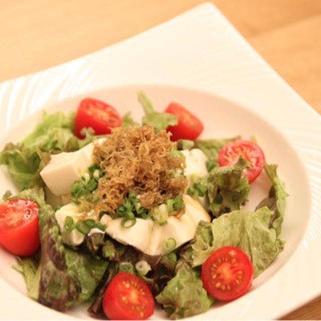 豆腐の焦がし香味醤油サラダ