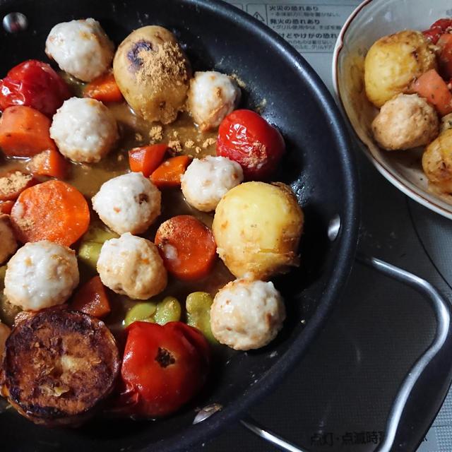 肉団子と野菜の蒸し焼き