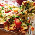 高野豆腐で低糖質!なまり節とキャベツのカレーピザ。