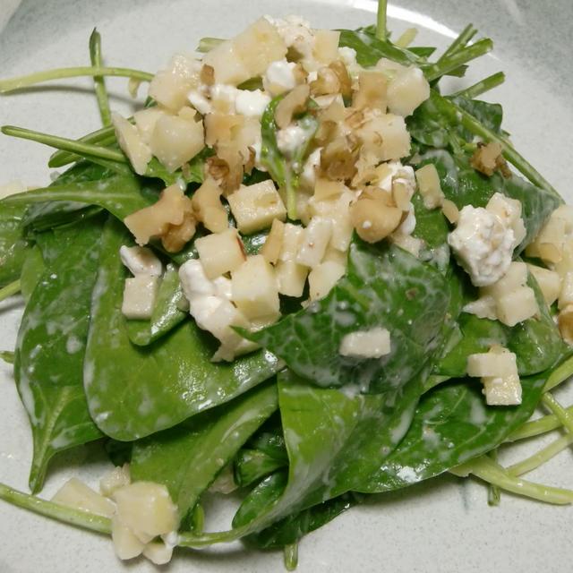 晴れときどきくもり  サラダほうれん草とリコッタチーズのサラダ