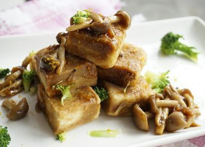 高野豆腐のきのことしょうがあんかけ