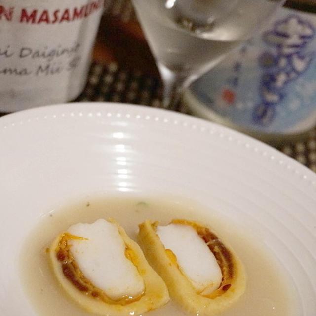 季節野菜のキューブサラダ、ホヤのクネル風、鮭白子のテリーヌ風で晩酌を