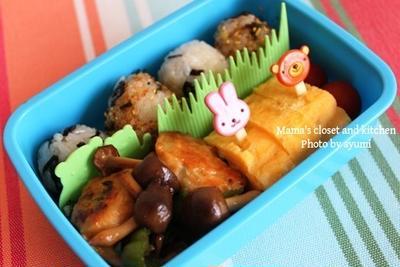 幼稚園のお弁当*つくねと野菜の甘辛炒め