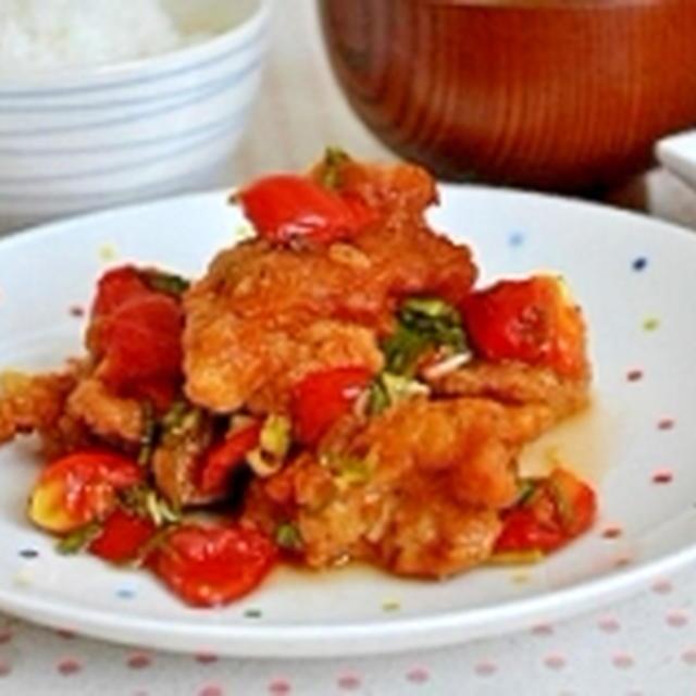 トマトとチキンの中華マリネ
