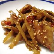 鶏もも肉と牛蒡のピリ辛炒め