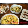【献立76】カボチャとチキンのクリームシチュー&チンゲン菜とコーンのバター炒め