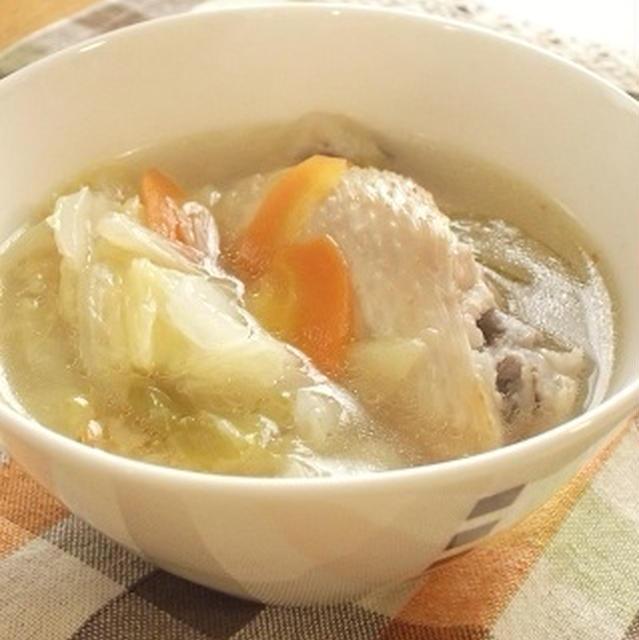 圧力鍋で手間なし♪手羽先と白菜の塩生姜スープ