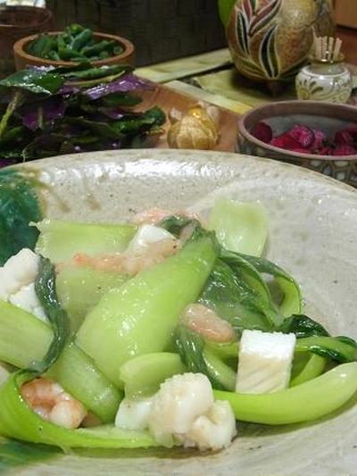 塩レシピ61 青梗菜と魚介の塩炒め