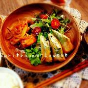 mari*レシピ: 鶏ムネ肉とわさびのつんつん春巻き(^▽^)♪