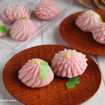 和菓子教室にて「はさみ菊」と「栗どら焼き」を作る!❁