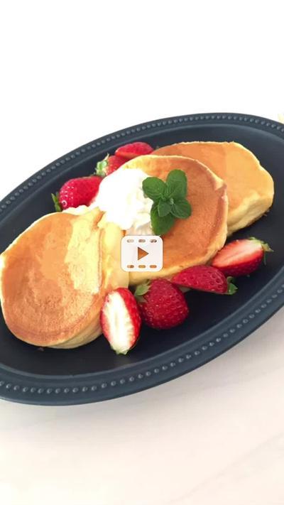 卵1個de簡単♡ふわっふわ♪パンケーキ♡