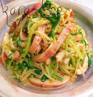 イカと水菜ともやしの胡麻マヨラーポンサラダ