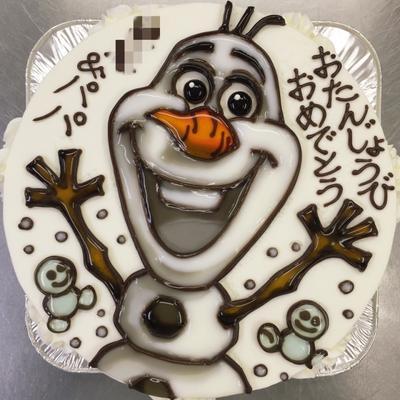 アナ雪」のオラフのイラストケーキ☆ by 青野水木さん