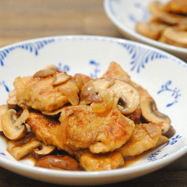 鶏胸肉とブラウンマッシュルームのバルサミコ炒め