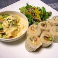 巻き寿司風ロールサンド&ヨーグルト風味のポテトサラダ