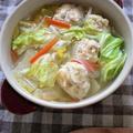 肉団子の冷凍保存も同時にできる(^-^)白菜と肉団子のスープ
