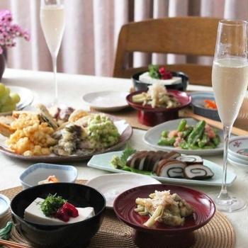 天ぷらと茶そば