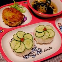 かぼちゃコロッケと手毬寿司