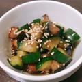 冷蔵庫に余ったキュウリと茄子でできる中華風サラダ