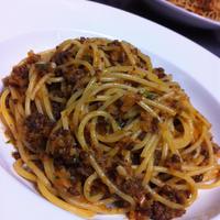 野菜たっぷり根菜の美味しいミートソース・スパゲッティ