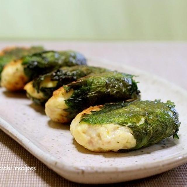 豆腐と鶏ミンチの大葉巻き焼き&卵を付けて食べる「甘辛焼きそば」