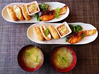 >稲荷寿司de和プレート☆しらたきの明太子和え♪☆♪☆♪ by みなづきさん