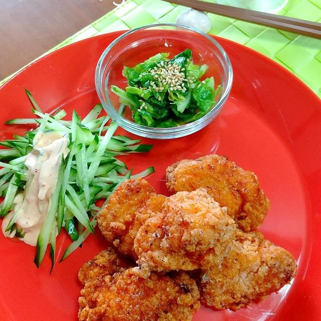 鶏むね肉のキムチ唐揚げ