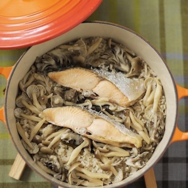 (まかない)秋鮭ときのこの炊き込みごはん