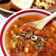 圧力鍋で簡単!ひよこ豆もセロリも鶏肉も入ったトマト風味のアホスープ♪【スパイス大使】