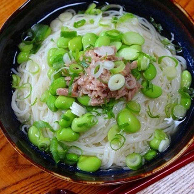 だだちゃ豆とツナの餡かけ素麺
