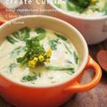 ルクルーゼで菜の花の茶わん蒸し&野菜と三枚肉のチゲうどん鍋