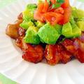 とろみ甘酢チキン@アボカドトマトのっけ♪おいしい健康レシピ掲載 by みぃさん