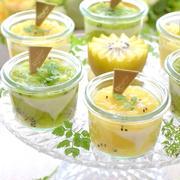 キウイフルーツ緑と黄色と2種の手作りグラススイーツ