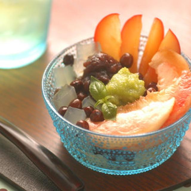 「赤エンドウ豆とずんだのフルーツあんみつ」