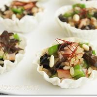 かわいい餃子カップでお弁当のおかずやアミューズに♪「中華風ブラウンライス炒め」