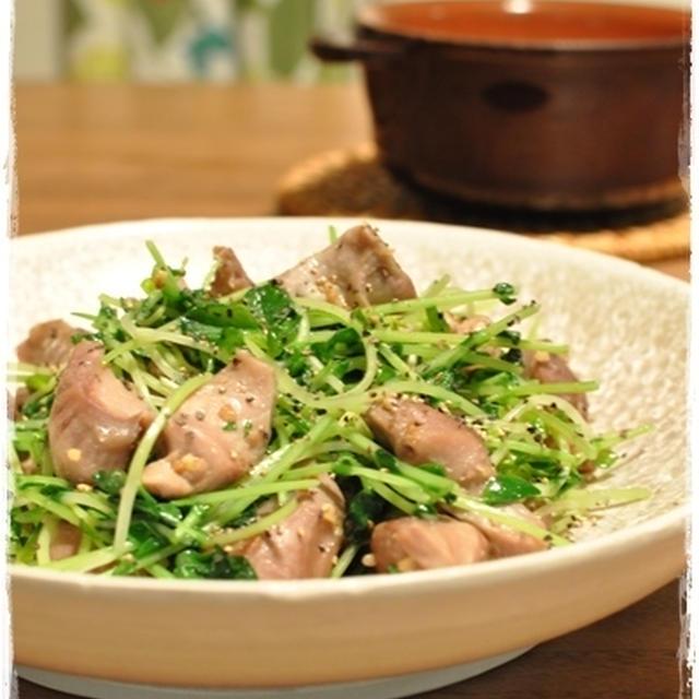 【砂肝と豆苗のガーリック炒め】